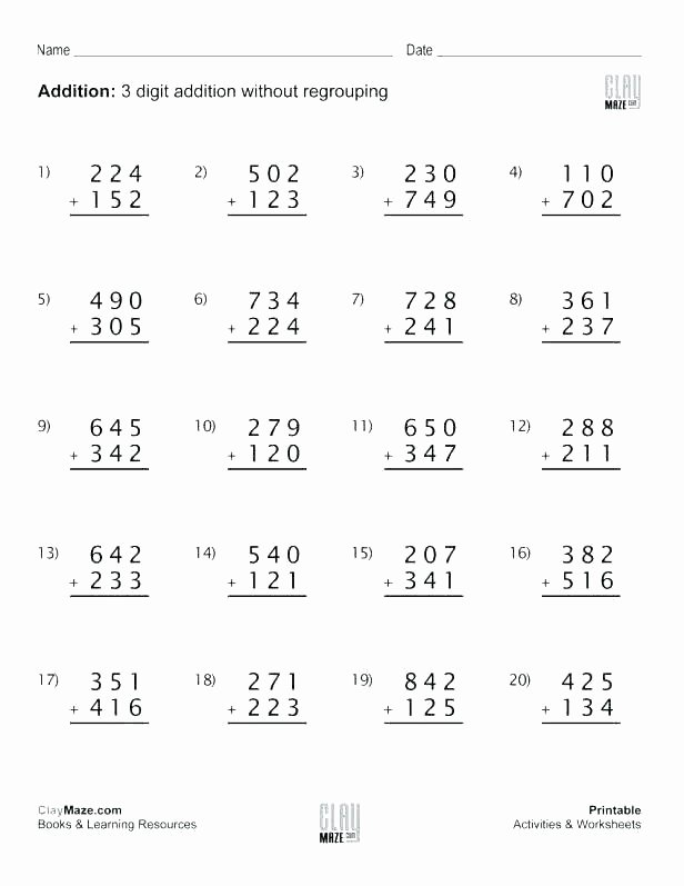 6 Digit Subtraction Worksheets Math Two Digit Addition Worksheets