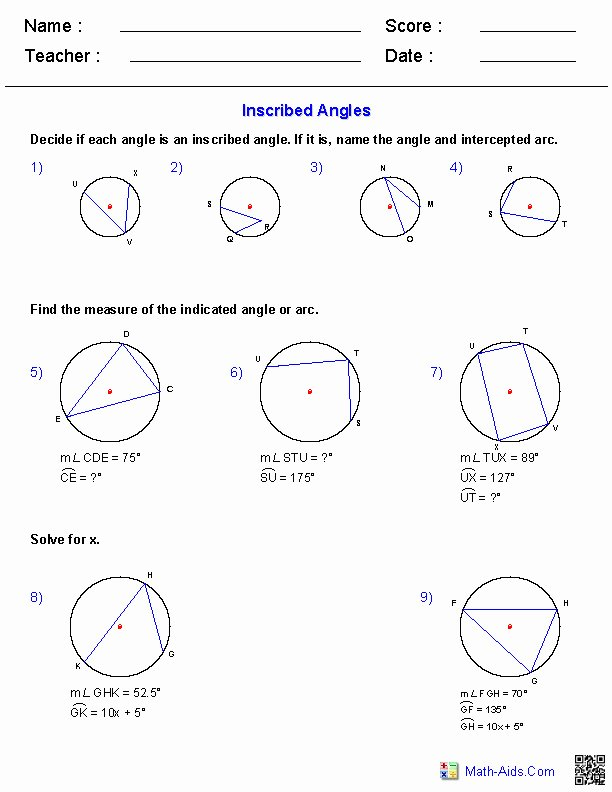 6th Grade istep Practice Worksheets Math Practice Worksheet Best 18 Doc Inscribed Angles