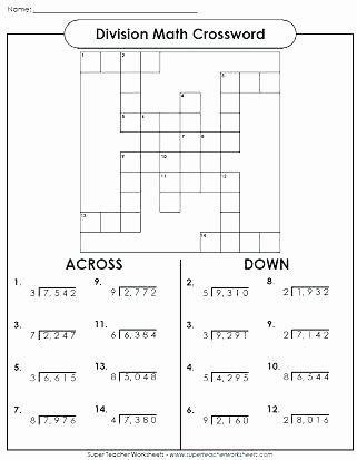 6th Grade Math Crossword Puzzles 6th Grade Brain Teasers Worksheets