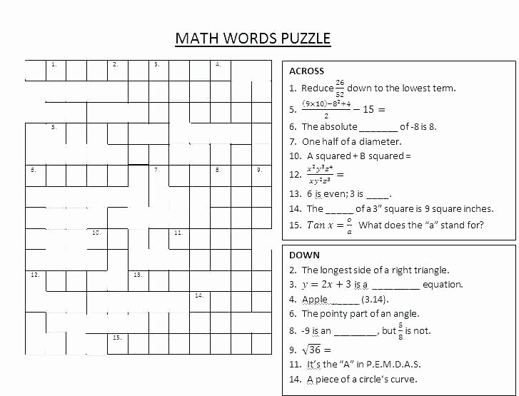 6th Grade Math Crossword Puzzles Crossword Puzzle for First Graders Download by Vocabulary