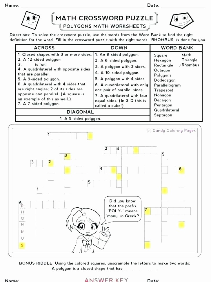 6th Grade Math Crossword Puzzles Math Word Search Puzzles Worksheets