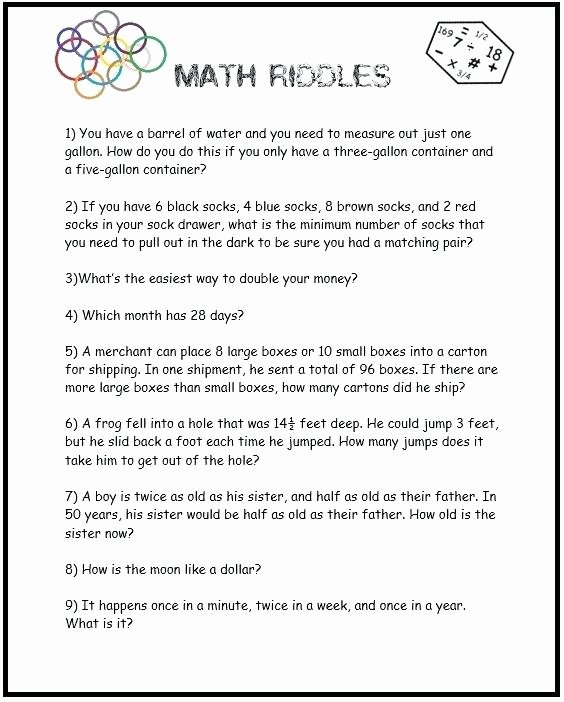 6th Grade Math Puzzles Worksheets Printable Math Riddles Worksheets Riddle with Pip Worksheet
