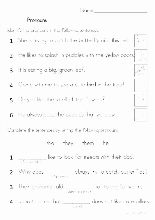 6th Grade Pronoun Worksheets Pronoun Worksheets First Grade