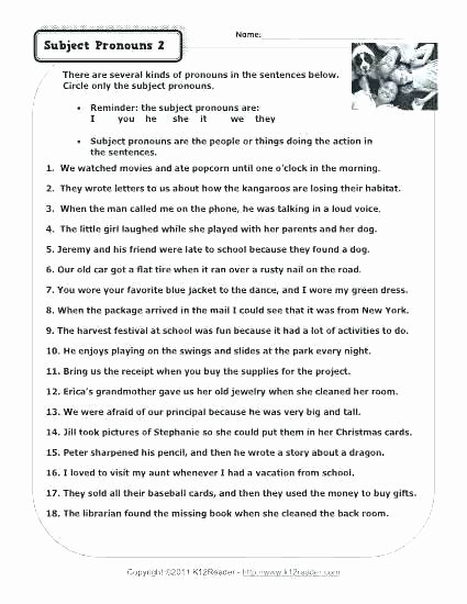 6th Grade Pronoun Worksheets Pronoun Worksheets for Grade 3 Free Mon Core Possessive