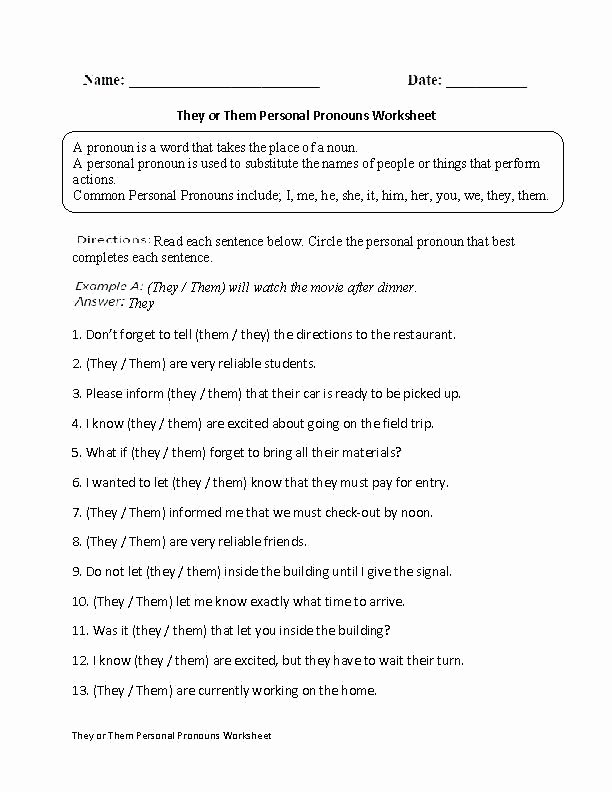 6th Grade Pronoun Worksheets Vague Language Worksheet