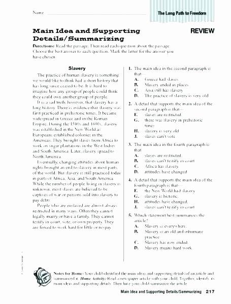 6th Grade Reading Worksheets Main Idea Worksheets Grade 4 Suitable Portrait Robots