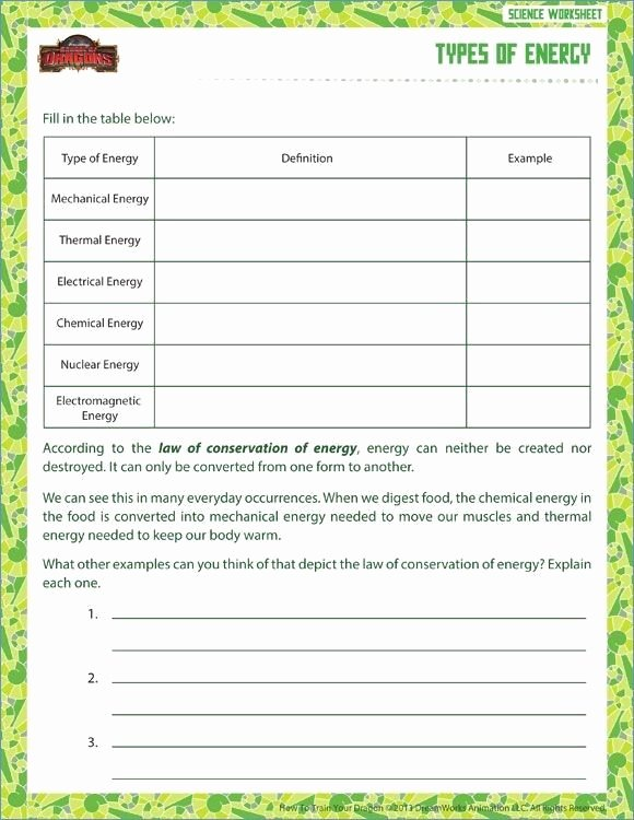 6th Grade Science Energy Worksheets 6th Grade Science Worksheets with Answer Key