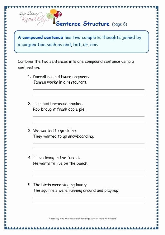 6th Grade Sentence Structure Worksheets Sentence Construction Worksheets