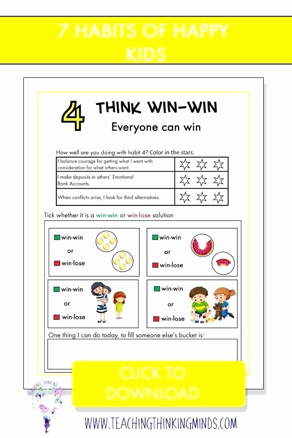 7 Habits for Kids Worksheets Awesome 7 Habits for Kids Worksheets