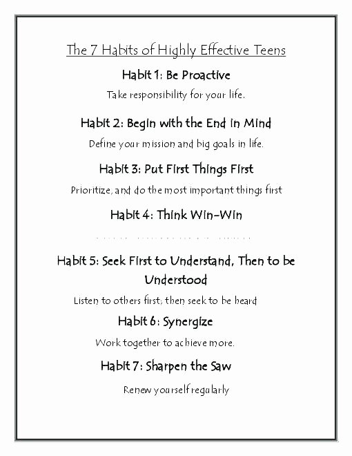 7 Habits for Kids Worksheets Lovely Courage Best 7 Habits Teens Worksheets Free for