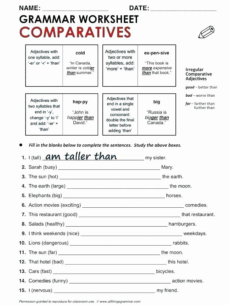 7th Grade Grammar Worksheets Pdf Using Better Nouns Grade Through Worksheet 5 7 Grammar