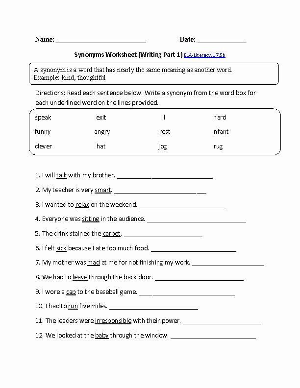 7th Grade Language Arts Worksheets Synonyms Worksheet Choosing Ela Literacy L 7 5b Language