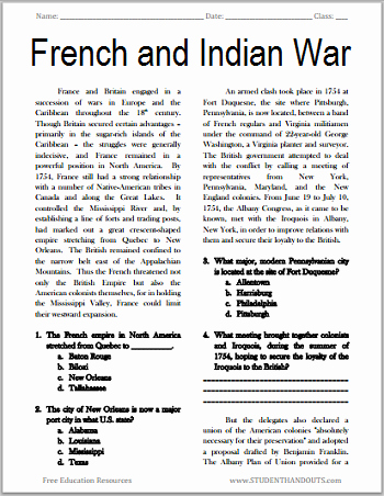 7th Grade social Studies Worksheets the French and Indian War Free Printable American History