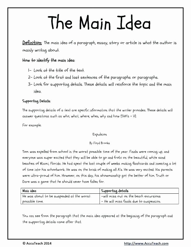 8th Grade Main Idea Worksheets Awesome Free 5th Grade Main Idea Worksheets