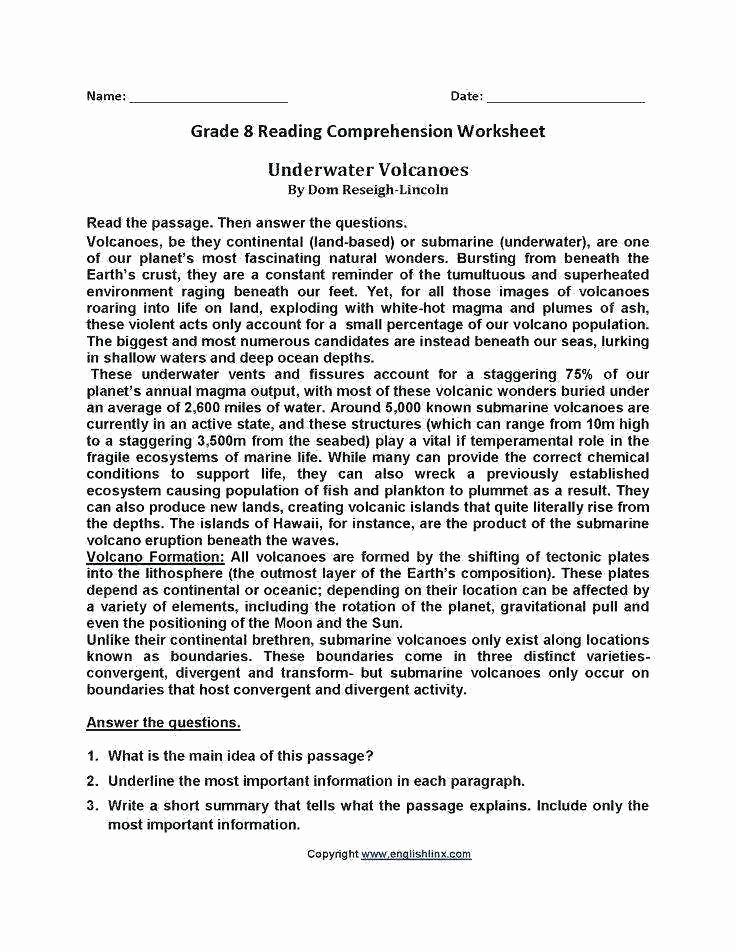8th Grade Main Idea Worksheets Elegant 8th Grade Reading Worksheets