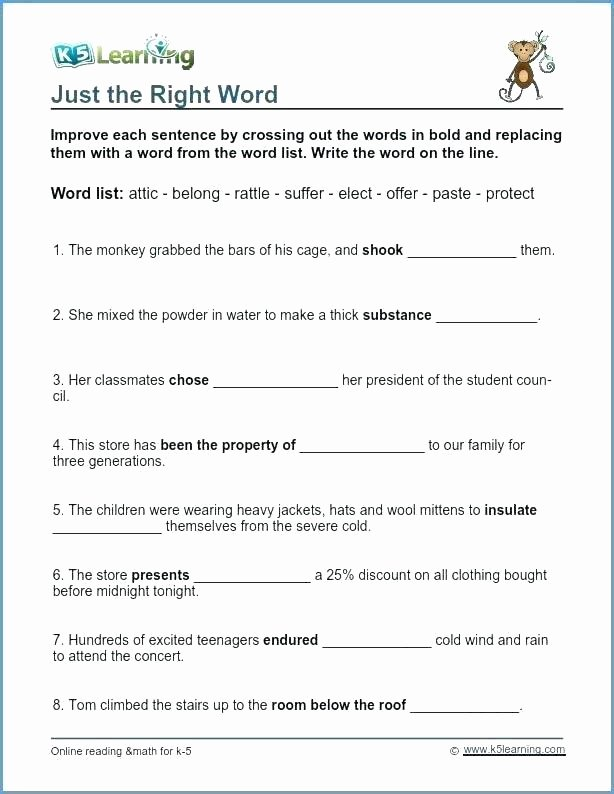 8th Grade Vocabulary Worksheets Fourth Grade Vocabulary Worksheets