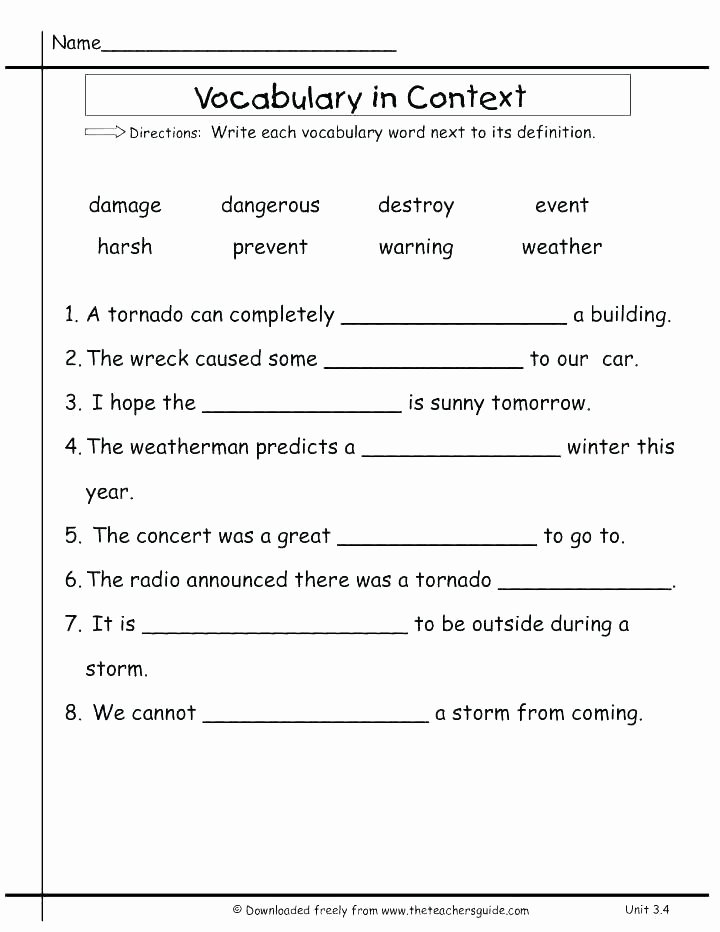 8th Grade Vocabulary Worksheets Grade Vocabulary Words and Definitions Worksheets Grade