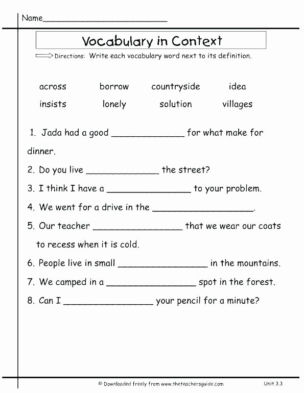 8th Grade Vocabulary Worksheets Pdf Fifth Grade Vocabulary Worksheets