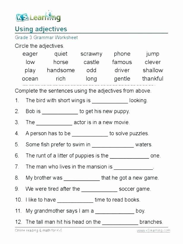 9th Grade Grammar Worksheets Fresh Grammar Worksheets Grade 3 Articles for Free English Pdf