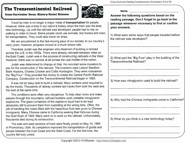 9th Grade Nonfiction Reading Passages Reading Prehension Worksheets Grade First Printable