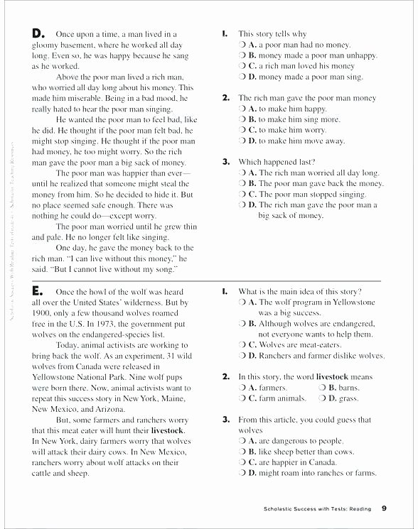 9th Grade Reading Worksheets Awesome Reading Prehension Third Graders Math Grade Worksheet