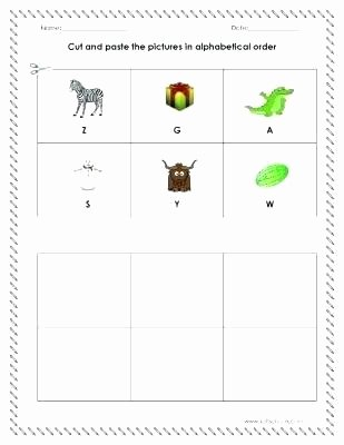 Abc order Worksheets Kindergarten Cut and Paste the In Alphabetical order Worksheet
