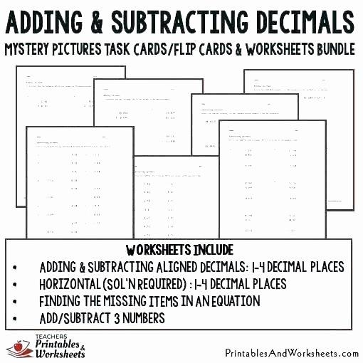 Adding Decimals Horizontal Worksheet Adding Decimals Free Worksheets