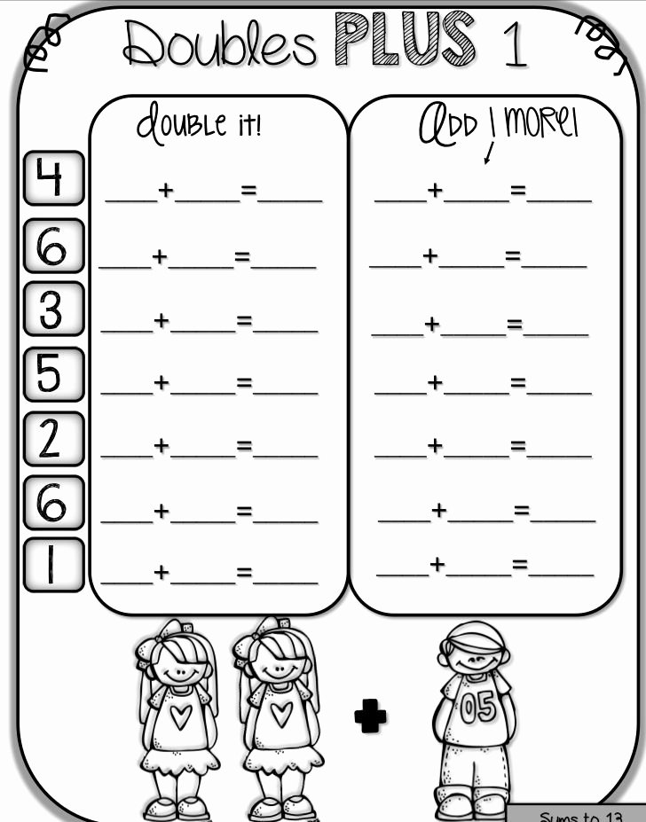 Adding Doubles Worksheet 2nd Grade Doubles Math Worksheets Lovely First Grade Math Worksheet