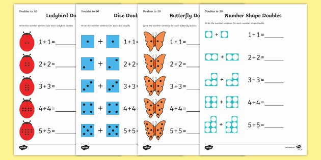 Adding Doubles Worksheet 2nd Grade Doubles to 20 Worksheets Maths Resource Twinkl