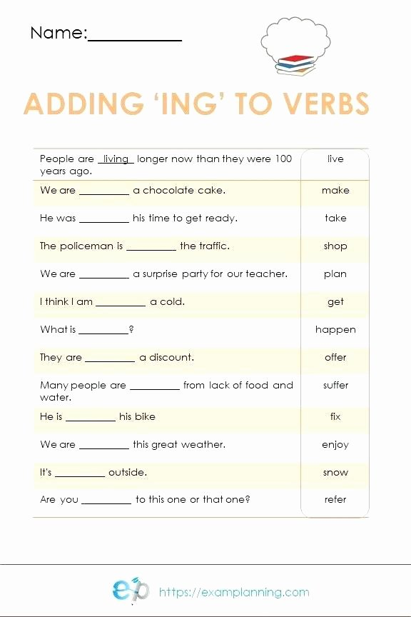 Adding Ing to Verbs Worksheet Adding Ing to Words Worksheets