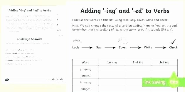 Adding Ing to Verbs Worksheet Adjectives In Ed and 1 Worksheet Worksheets Grade Ed and Ing