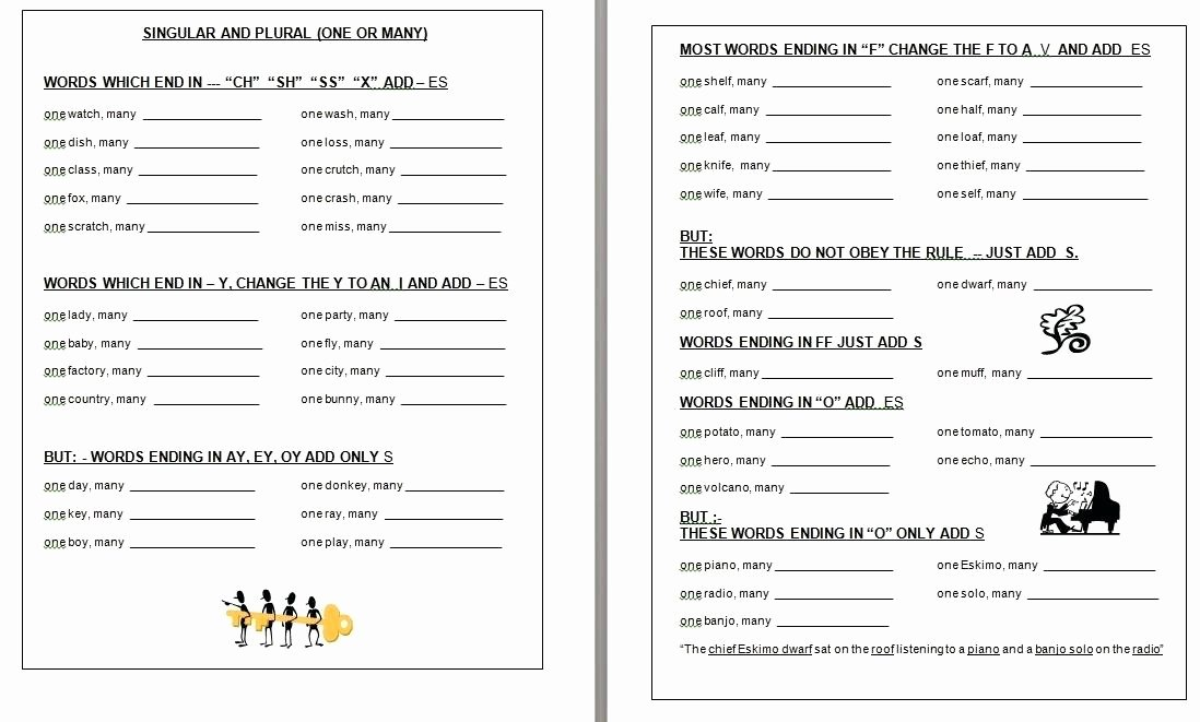 Adding S and Es Worksheets Possessive Nouns Worksheets for Grade 4 Singular Plural and