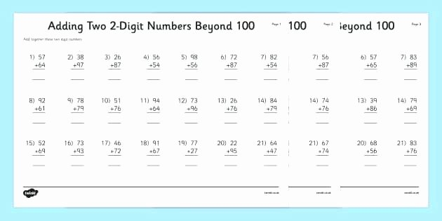 Adding Two Digit Numbers Worksheets Adding 2 Digit Numbers Worksheets