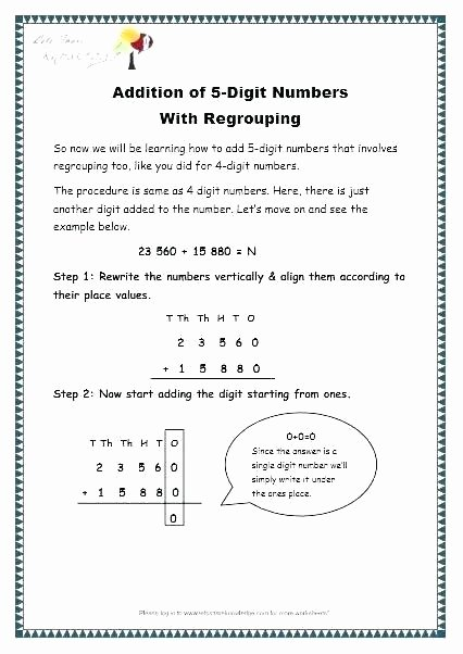 Addition 3 Digits Worksheets 5 Digit Addition with Regrouping Worksheets Grade 3 Maths