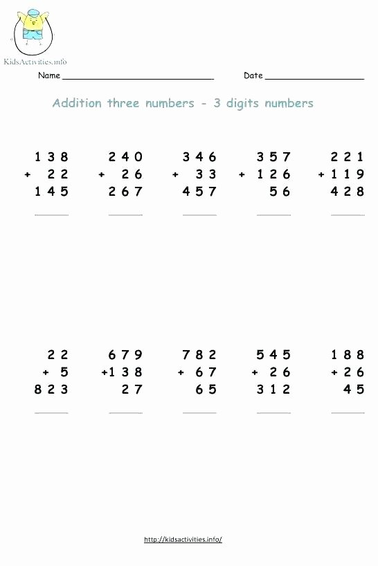 Addition 3 Digits Worksheets Adding Numbers Worksheet – Buchanansdachurch