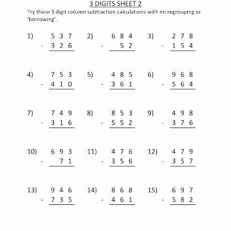 Addition 3 Digits Worksheets Subtraction 3 Digits with Regrouping – Stnicholaseriecounty