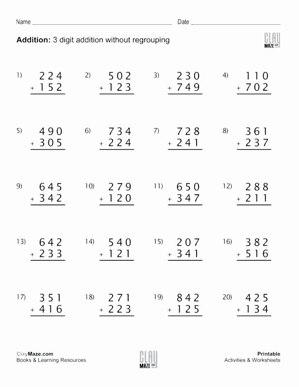 Addition 3 Digits Worksheets Two Digit Btraction without Regrouping Worksheets and Game