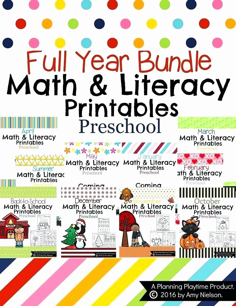 Addition Coloring Worksheets for Kindergarten Preschool Worksheets the Year Bundle Planning Playtime Full