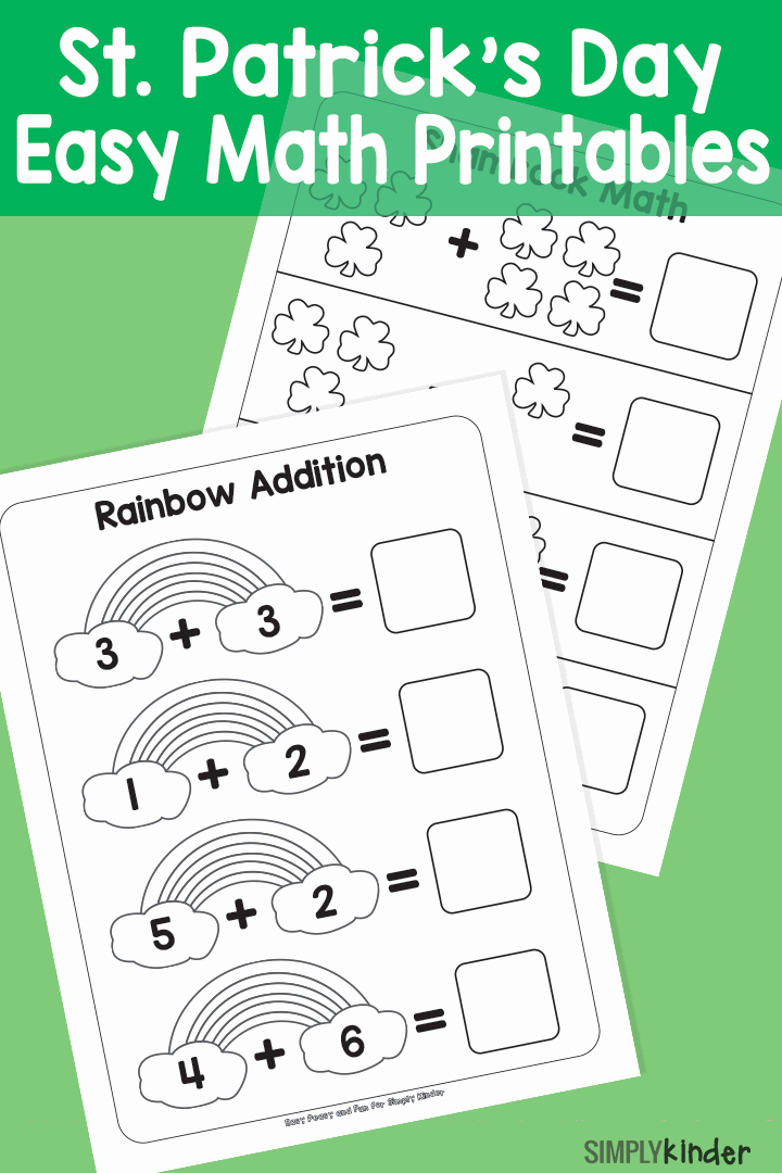 Addition Coloring Worksheets for Kindergarten Simple St Patricks Day Math Printables Simply Kinder