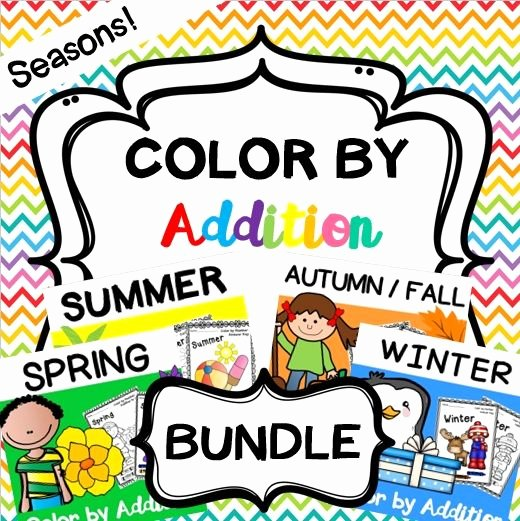 Addition Math Coloring Worksheets Color by Addition Seasonal Bundle Spring Summer Autumn