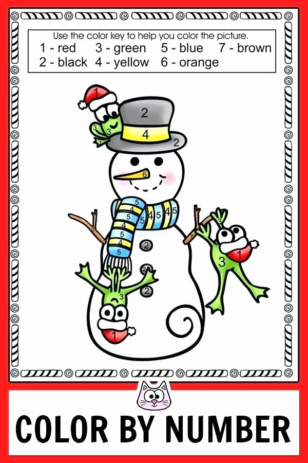 Addition Math Coloring Worksheets Snowman Color by Number