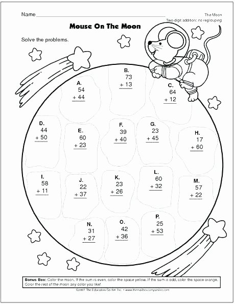 Addition with Regrouping Coloring Worksheets Addition with Regrouping Worksheets 3rd Grade 2 Digit