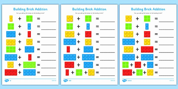Addition Worksheets with Pictures 4 Building Brick Addition Worksheet Activity Sheet