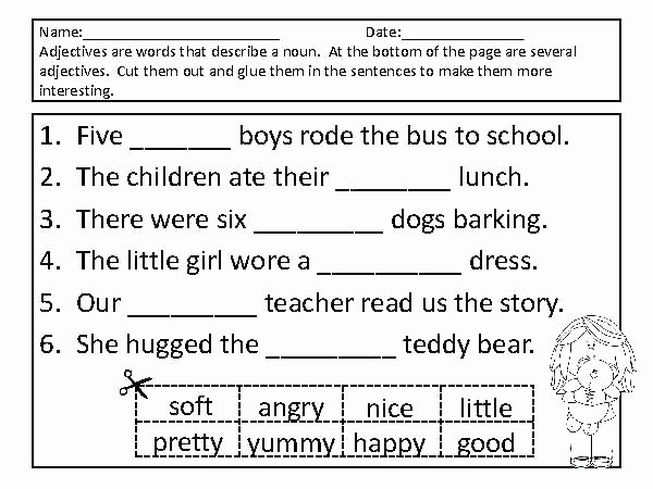 Adjective Worksheets 2nd Grade Descriptive Language Worksheets