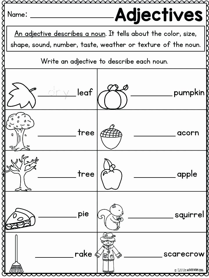 Adjectives Cut and Paste Elegant Kindergarten Readiness Worksheets Activities Fall