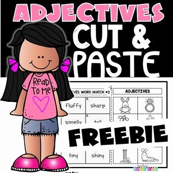 Adjectives Cut and Paste Lovely Adjectives Worksheets Freebie