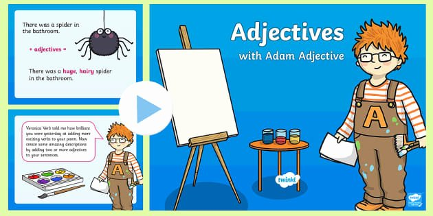 Adjectives Cut and Paste Lovely Verb Adverb Noun and Adjective sorting Activity Literacy