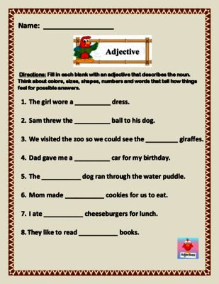 Adjectives Cut and Paste Unique Adjective Fill In the Blank Worksheet 5 Page Of 8 Sentences