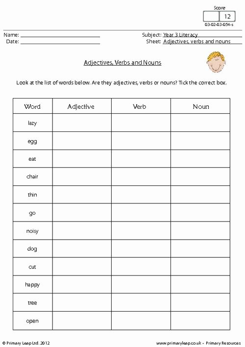 Adjectives Cut and Paste Unique Adjectives and Verbs Worksheet