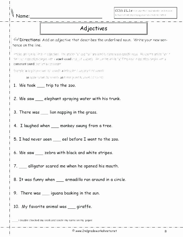 Adjectives Worksheet 2nd Grade Resources Adverbs Worksheets Worksheet 2nd Grade Pdf